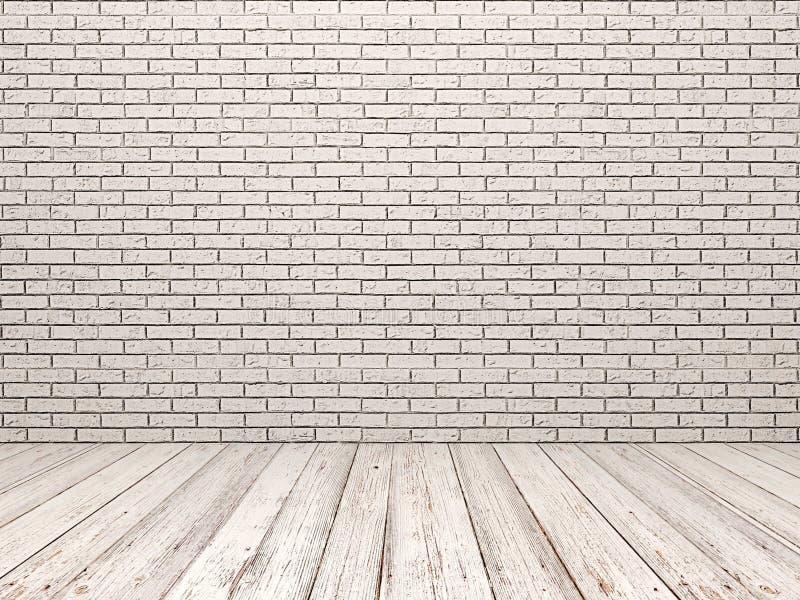 白色砖墙和白色木地板 皇族释放例证