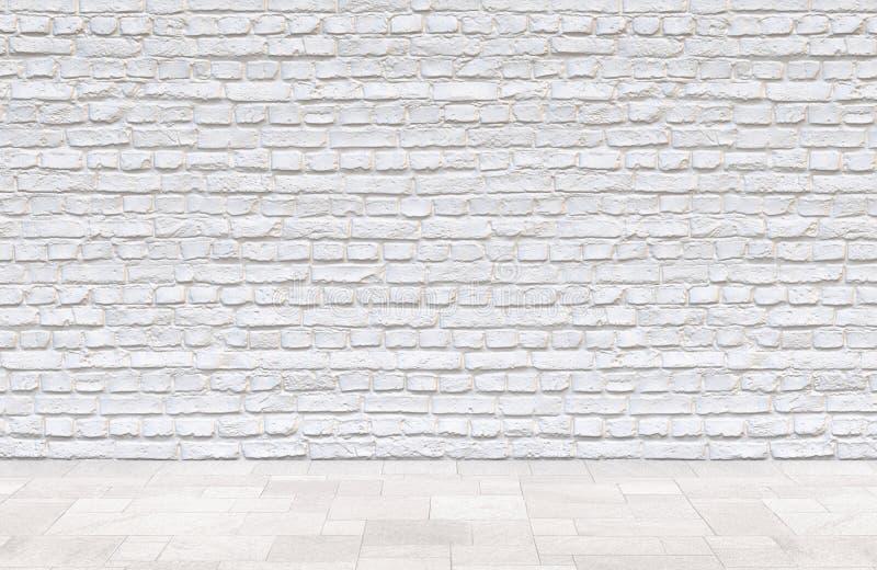 白色砖墙和砖地背景 皇族释放例证