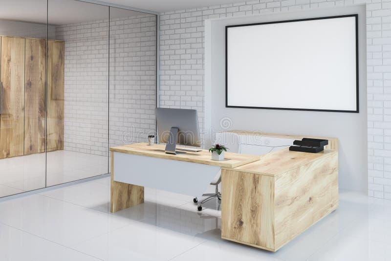 白色砖现代办公室工作场所角落,横幅 库存例证