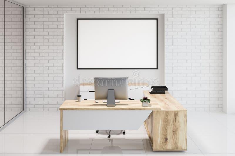 白色砖现代办公室工作场所,横幅 皇族释放例证