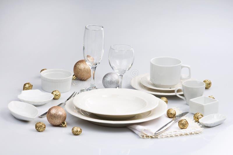白色碗筷 库存图片