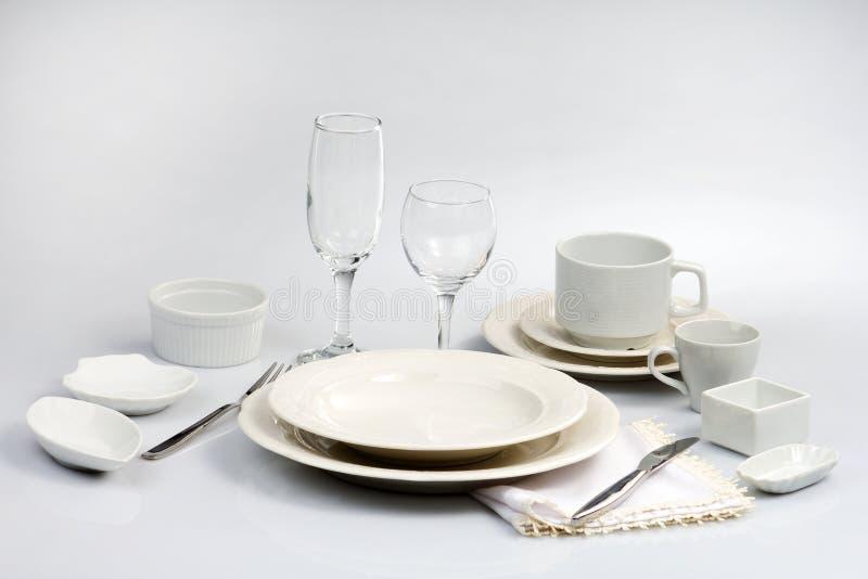 白色碗筷 图库摄影