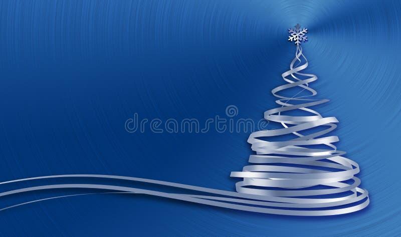 从白色磁带的圣诞树在蓝色金属背景 向量例证
