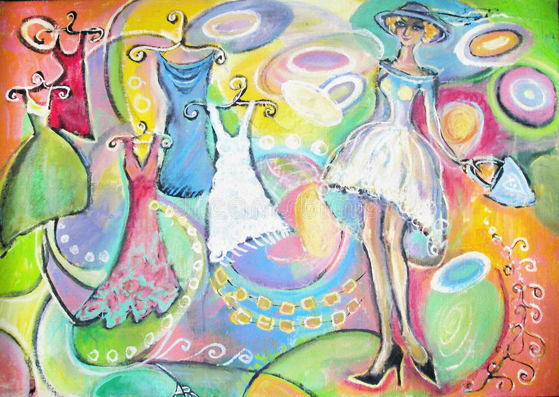 白色礼服和帽子的端庄的妇女在购物 妇女的衣物销售  绘画 向量例证