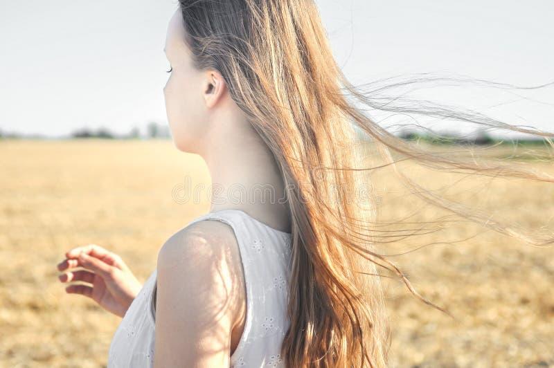 白色礼服的女孩在领域站立,并且风振翼她的头发 免版税图库摄影