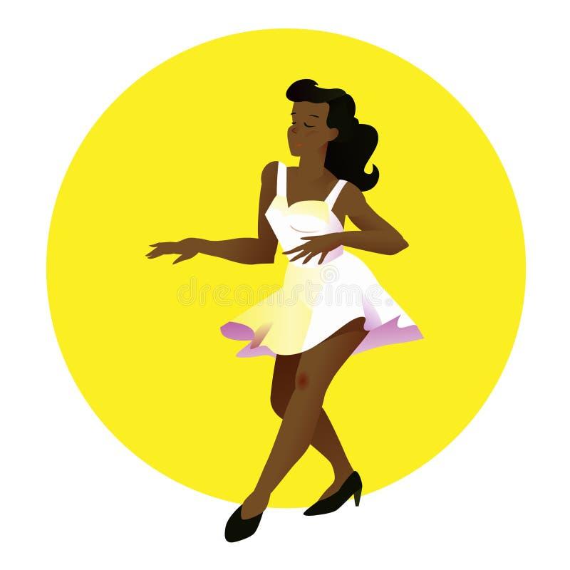 白色礼服的年轻美丽的巴西女孩跳舞 也corel凹道例证向量 黄色圆背景的人们在平的样式 向量例证