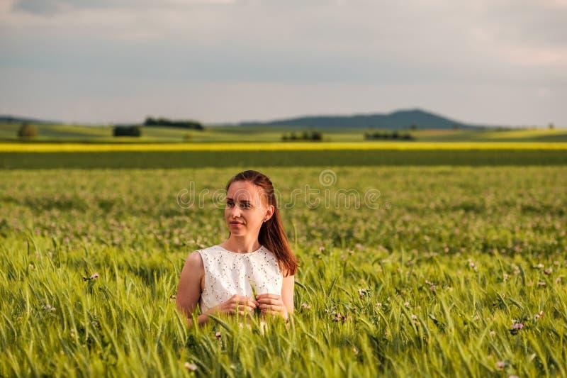 白色礼服的美丽的妇女在绿色麦田 库存照片