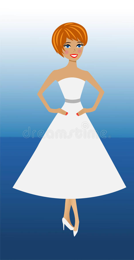 白色礼服的美丽的苗条妇女在蓝色背景 库存例证