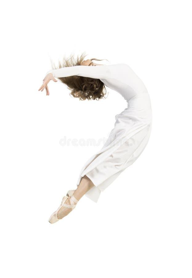 白色礼服跳舞的芭蕾的一个女孩 图库摄影