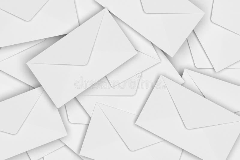 白色空白的信封堆, 3D翻译 免版税库存图片