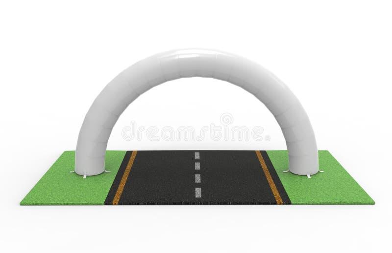 白色空白的可膨胀的半圆拱管或入口门 3d例证回报 向量例证