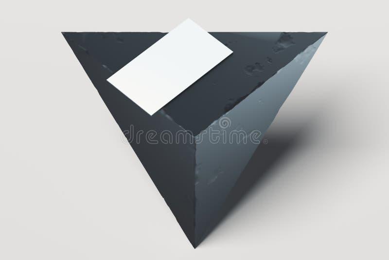 白色空白的名片或海报在黑几何三角陈列室 3d?? 向量例证