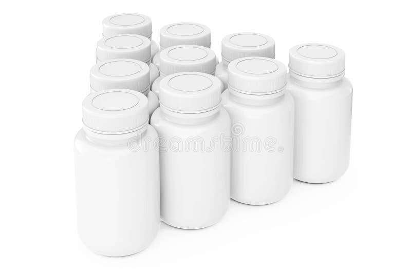 白色空白的塑料药瓶行  3d翻译 向量例证