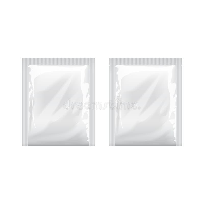 白色空白的模板包装的箔 食品包装咖啡,盐,糖,胡椒,香料,甜点,弄湿了抹 皇族释放例证