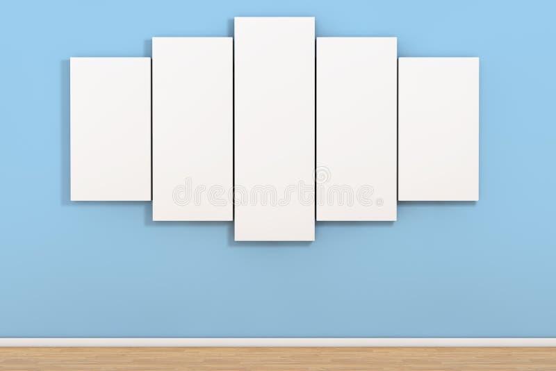 白色空白的海报在空的屋子里 3d翻译 库存例证