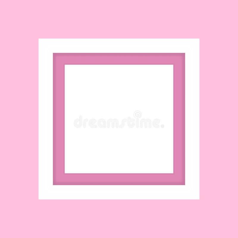 白色空白的相框,框架木白色在图片的,在桃红色软的颜色的白色框架桃红色淡色背景被隔绝的 向量例证