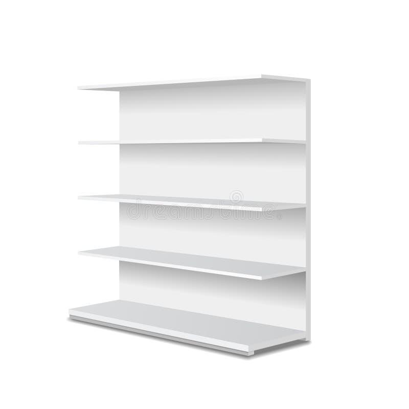 白色空白的空的陈列室显示有零售架子透视图 做广告的传染媒介模板 库存例证