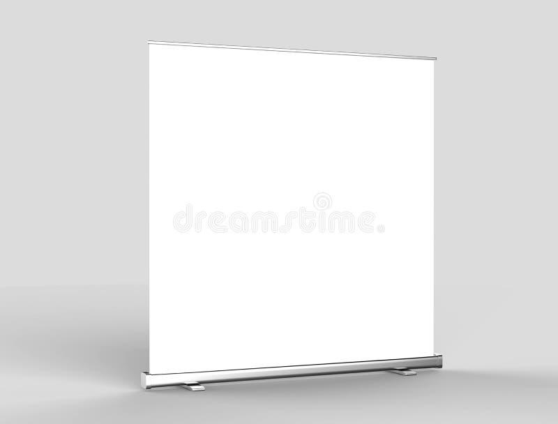 白色空白的空的高分辨率事务卷起和站着看的人横幅模板的显示嘲笑您的设计介绍的 3D r 向量例证