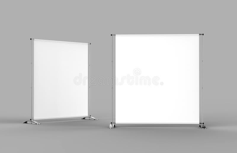 白色空白的空的高分辨率模板的企业铝优质可伸缩的望远镜商业展览横幅立场显示嘲笑 皇族释放例证