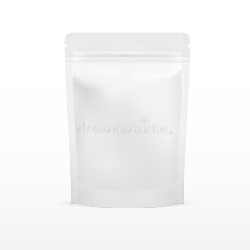 白色空白的箔食物Doy组装站立包装与的囊袋子 库存例证