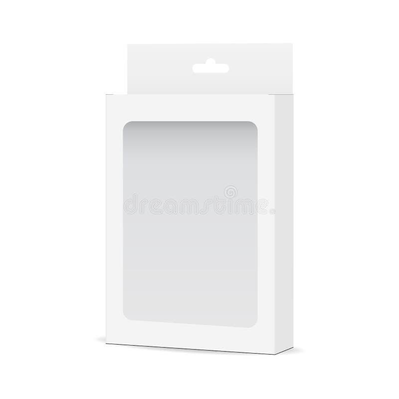白色空白的箱子嘲笑与透明窗口和垂悬的选项-侧视图 向量例证