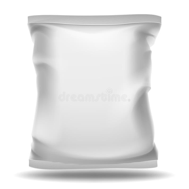 白色空白的袋子包裹 传染媒介大模型 库存例证
