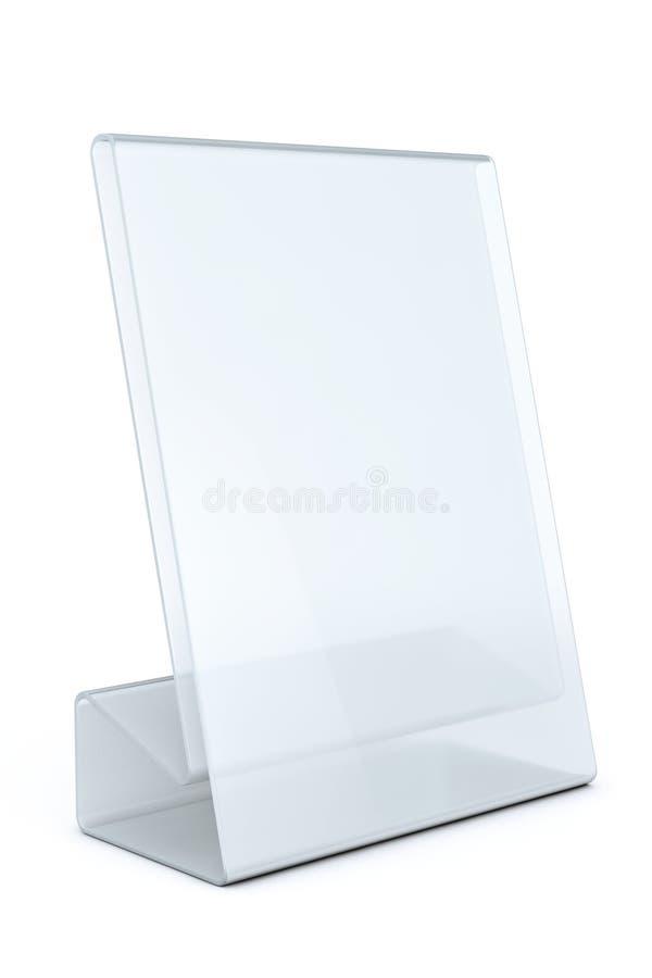 白色空白的透明桌板材卡片 向量例证
