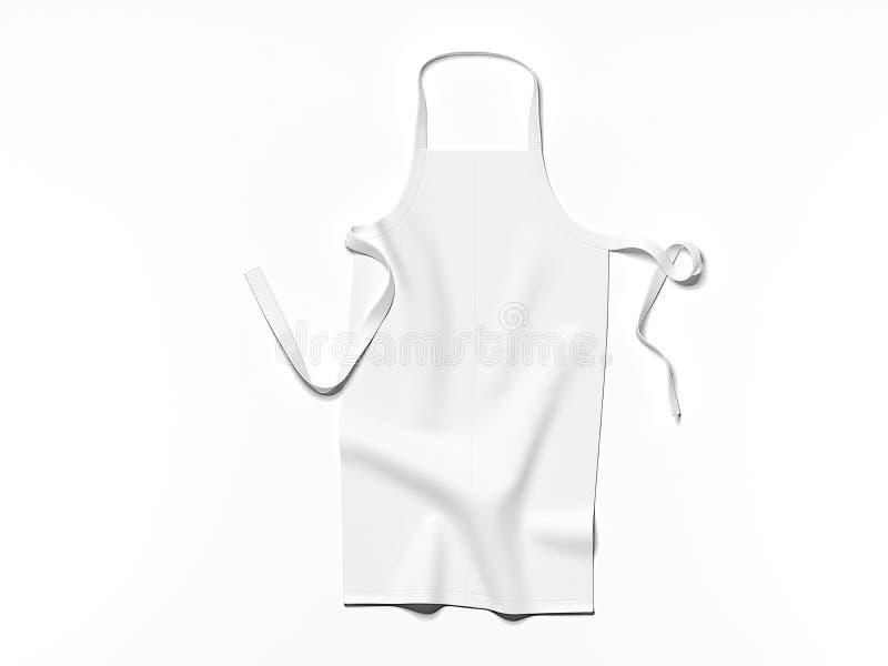白色空白的围裙 3d翻译 库存照片