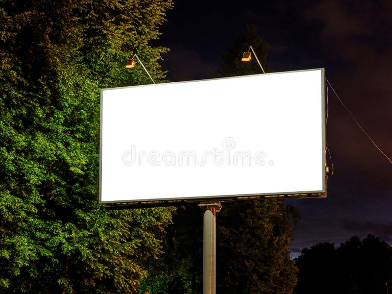 白色空的广告牌的空白嘲笑 库存照片