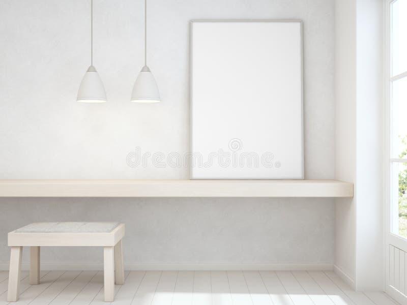 白色空的框架嘲笑在木桌上有混凝土墙背景、椅子和书桌在门附近在明亮的屋子里 库存例证