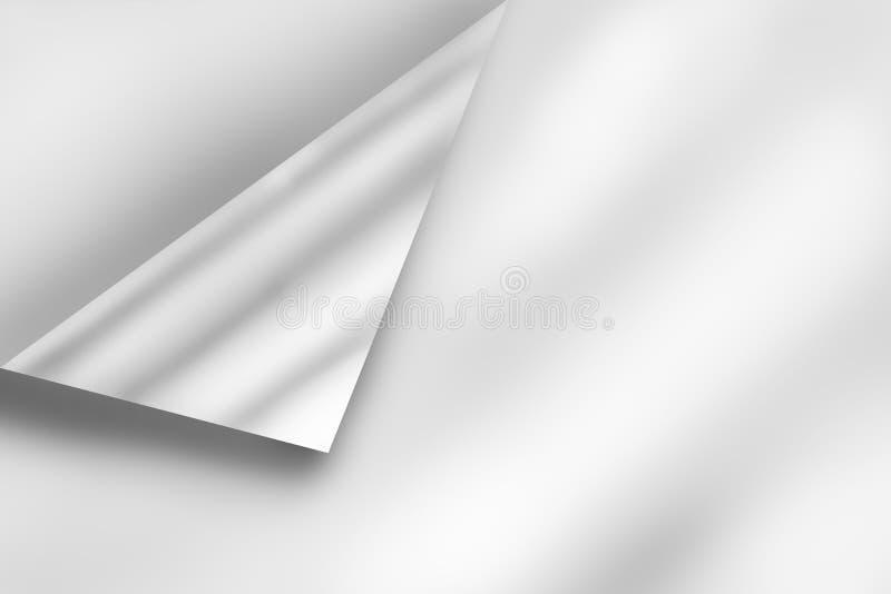 白色空的纸板料页的卷曲的角落与阴影和拷贝空间的增加文本 背景画廊例证更多我 皇族释放例证