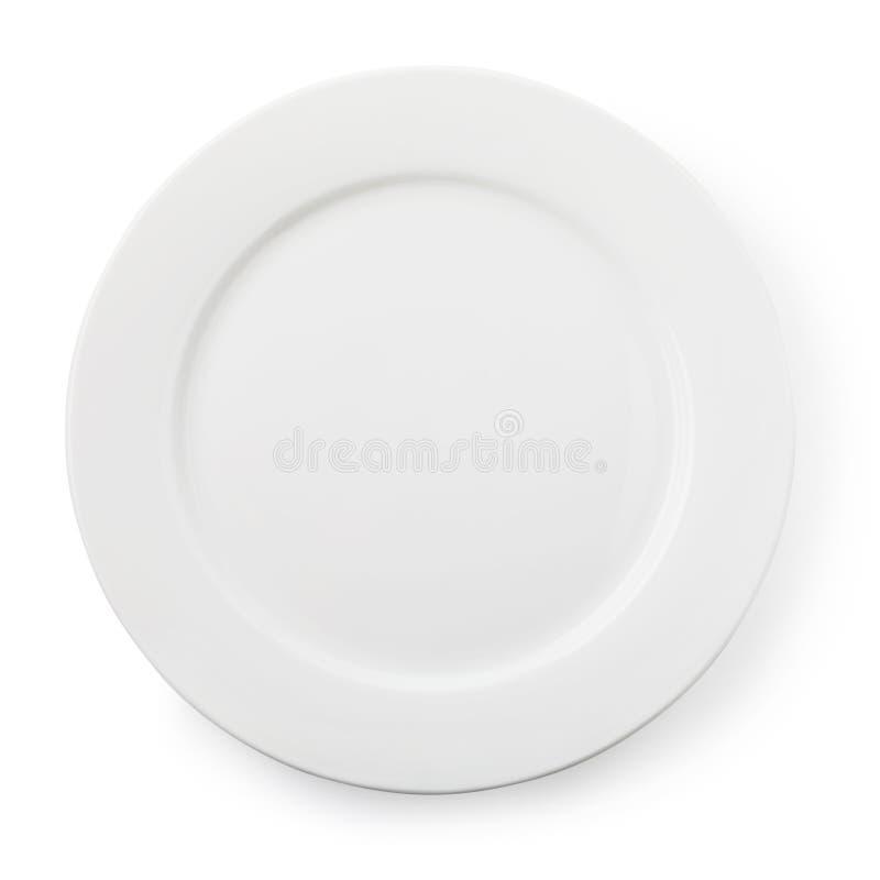 白色空的陶瓷板材,顶视图被隔绝 免版税图库摄影