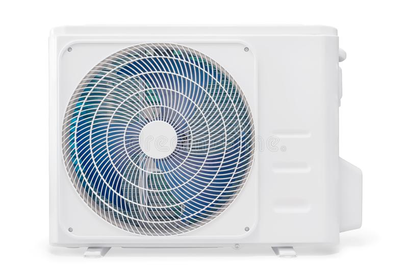 白色空调压缩机隔绝与裁减路线 免版税库存照片