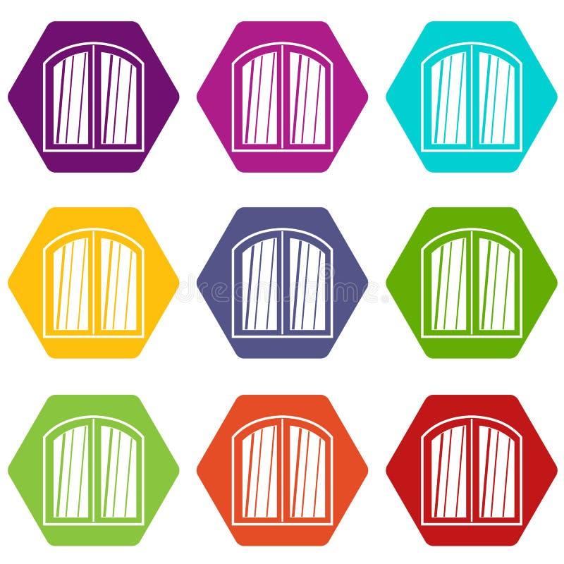 白色窗口成拱形框架象集合颜色hexahedron 皇族释放例证