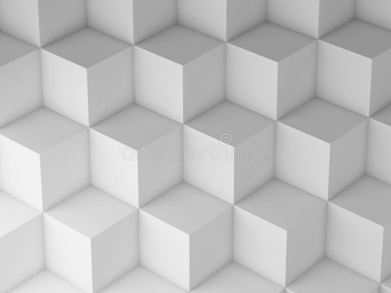 白色立方体样式, 3d回报例证 库存例证