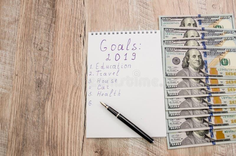 白色笔记本和笔、计算器和美元在木背景的特写镜头 库存图片