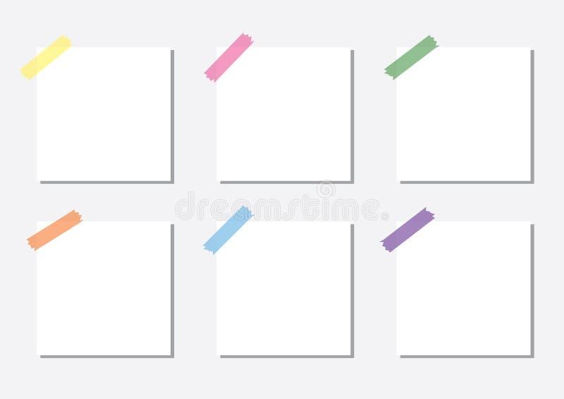 白色笔记薄纸板料和稠粘的轻拍 库存例证
