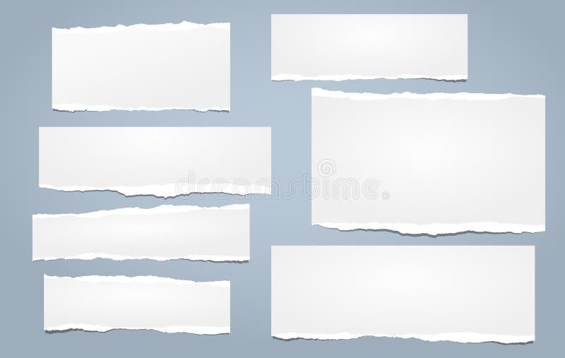 白色笔记,与被撕毁的边缘的笔记本纸带在蓝色背景黏附了 也corel凹道例证向量 库存例证