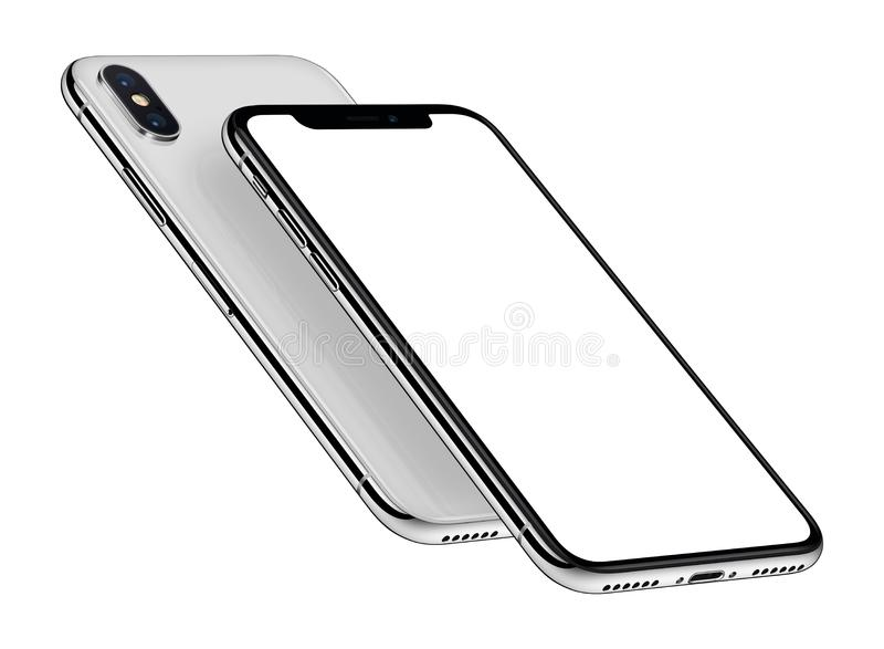 白色等量在其他上的智能手机大模型前面和后部一 皇族释放例证