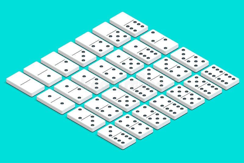 白色等量多米诺全套  完成二重六集合 向量例证