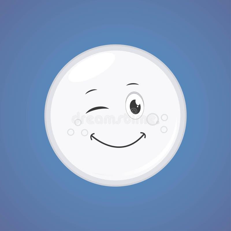 白色简单的闪光的字符动画片月亮 向量例证