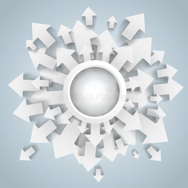 白色箭头圆环中心 皇族释放例证