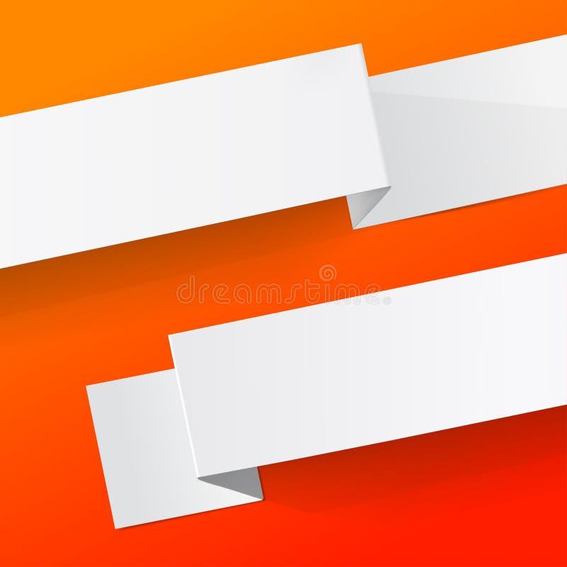 白色纸片在红色背景的 Origami传染媒介横幅 皇族释放例证