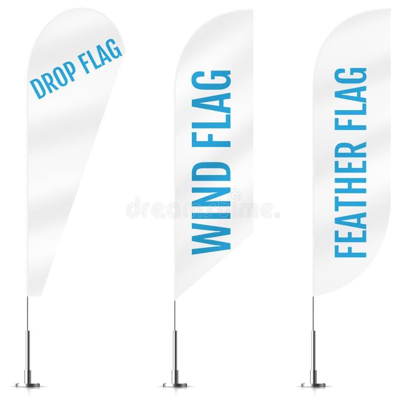 白色纺织品下落、风和羽毛横幅旗子 横幅旗子大模型集合 给设置的传染媒介大模型做广告 皇族释放例证
