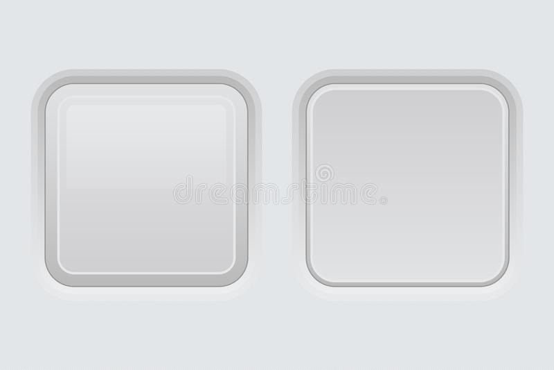 白色网接口按钮 方形的3d象 向量例证