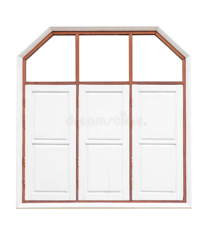白色老木3个窗口 r 保存与裁减路线 库存照片