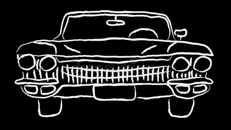 白色老葡萄酒古董行家古董强有力的快速的减速火箭的汽车用手绘了在等高的油漆在黑背景 库存例证