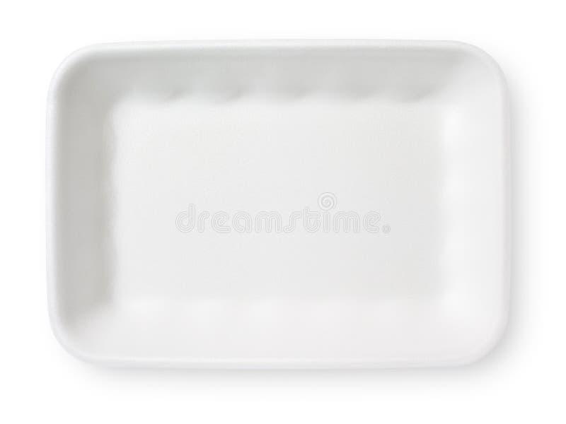 白色聚苯乙烯泡沫塑料食物盘子 免版税库存照片