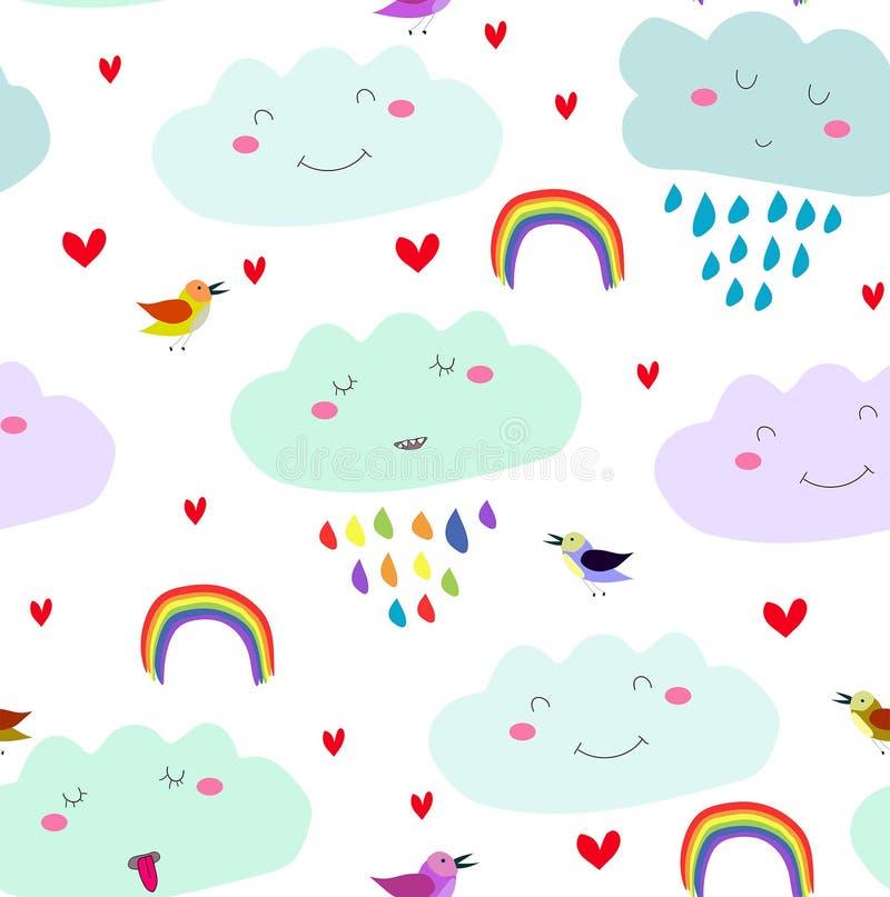 白色背景上带有笑云、彩虹、心、彩鸟的矢量无缝卡哇伊卡通可爱图案 向量例证