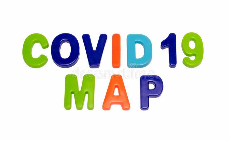 白色背景上的文本COVID-19 MAP 免版税库存图片